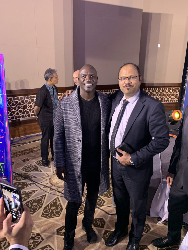 Vinod with Akon, American Singer, Song Writer, Record Producer, Philanthropist and Actor