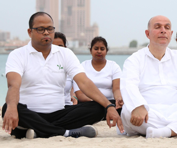 Vinod as a role model at photo shoot conducted by Indian embassy for International Yoga Day