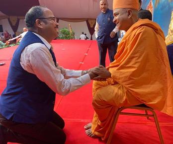 Vinod with Swami Brahmavihari Das, during visit to BAPS Hindu Mandir in UAE