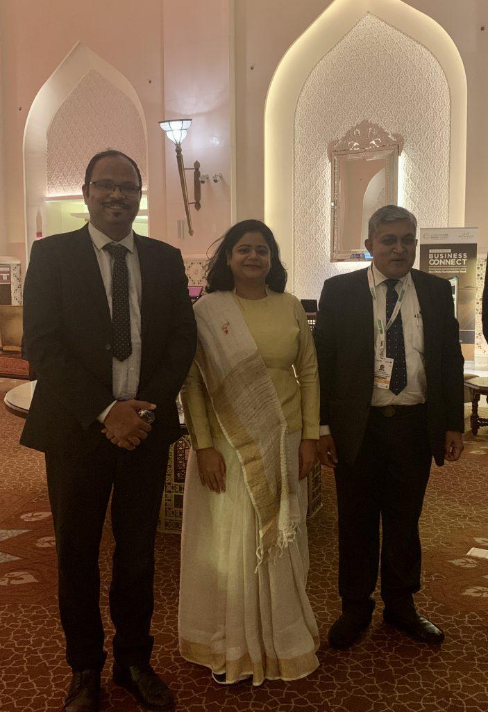 Vinod with Hitesh Doshi, MD - Waaree Group and Rashi Gupta, Founder Vision Mechatronics
