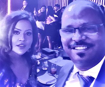 Vinod with Mrs. Amruta Fadnavis, Banker, Singer and wife of CM of Maharashtra at Dubai